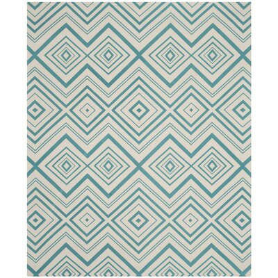 Charla Ivory & Light Teal Area Rug Rug Size: 8 x 11
