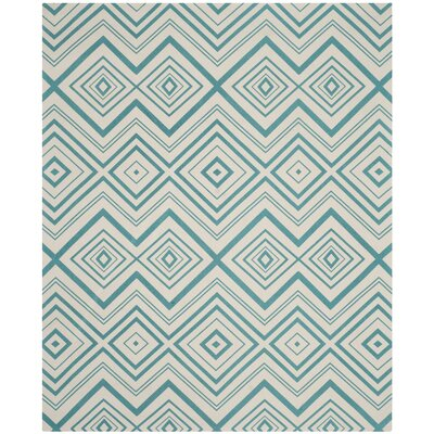 Charla Ivory & Light Teal Area Rug Rug Size: 9 x 12