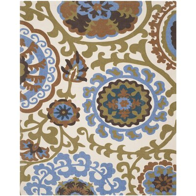 Woodward Blue / Yellow Area Rug Rug Size: 73 x 93