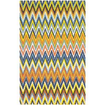 Charla Blue / Yellow Striped Contemporary Area Rug Rug Size: 23 x 39