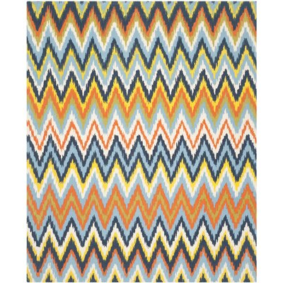 Blair Blue / Yellow Striped Contemporary Area Rug Rug Size: 73 x 93