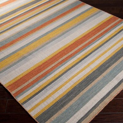 Dixon Golden Yellow/Misty White Striped Area Rug Rug Size: 2 x 3