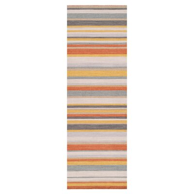 Sammy Golden Yellow/Misty White Striped Area Rug Rug Size: Runner 26 x 8