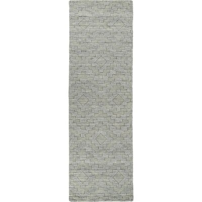 Dobson Hand-Tufted Gray Wool Area Rug Rug Size: Runner 26 x 8