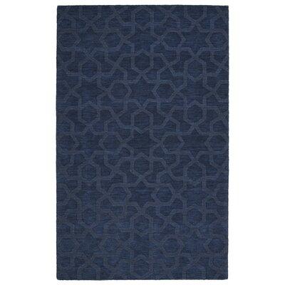 Xavier Handmade Navy Area Rug Rug Size: 36 x 56