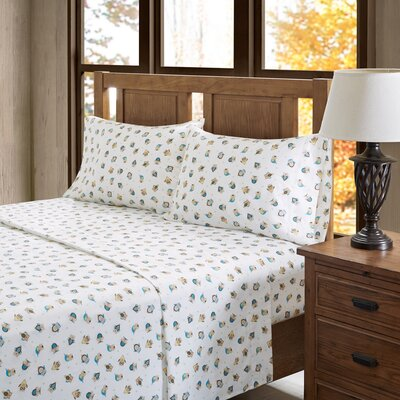 Lori Owl 100% Cotton Flannel Sheet Set Size: Queen