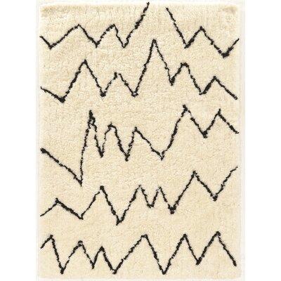 Minerva Ivory/Black Shag Area Rug Rug Size: 5 x 7