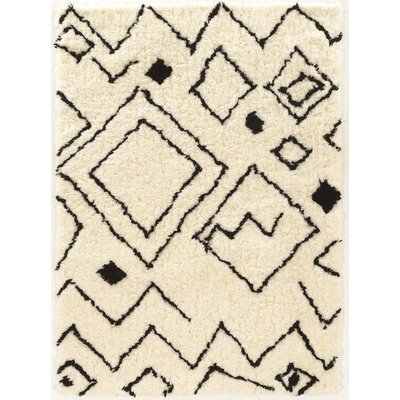 Minerva Hand-Tufted Ivory/Black Area Rug Rug Size: Rectangle 5 x 7