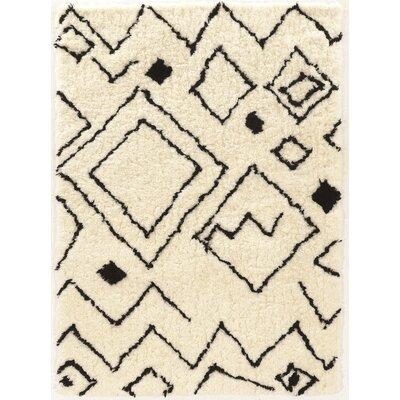 Minerva Ivory/Black Area Rug Rug Size: 5 x 7