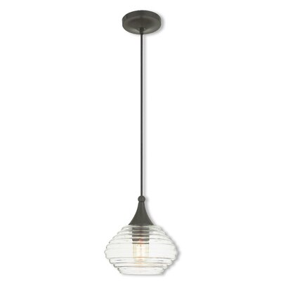 Limewood 1-Light Globe Shade Glass Mini Pendant Finish: English Bronze