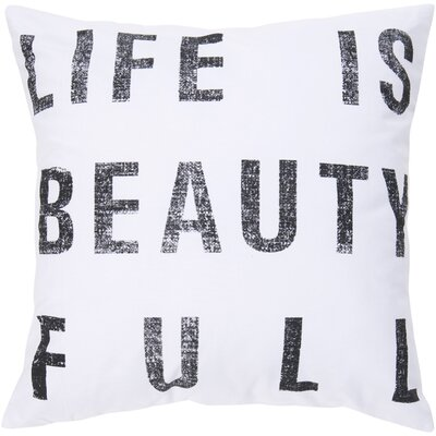 Stephanie Typography 100% Cotton Pillow Cover Size: 18 H x 18 W x 0.25 D, Color: Neutral on Black