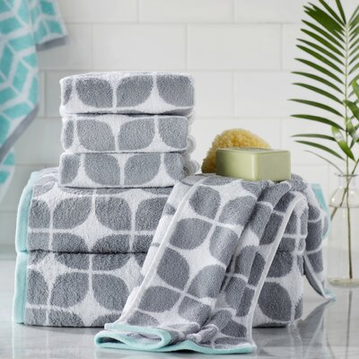Young Cotton Jacquard 6 Piece Towel Set Color: Gray
