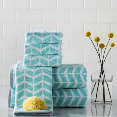 Zakary Cotton Jacquard 6 Piece Towel Set Color: Teal