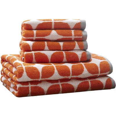 Young Cotton 6 Piece Towel Set Color: Orange