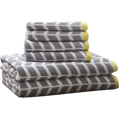 Willard Cotton Jacquard 6 Piece Towel Set Color: Gray