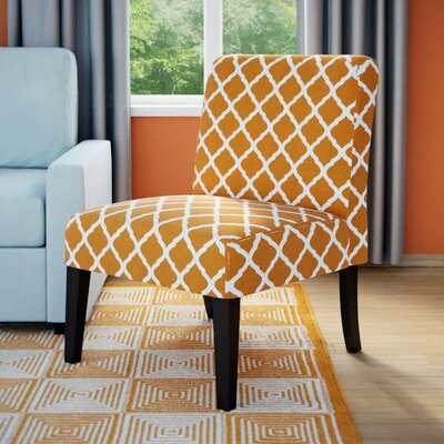 Rosario Slipper Chair Upholstery: Orange Lattice