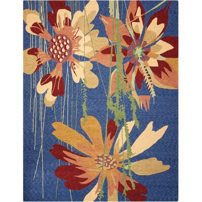 Yolanda Hand-Hooked Blue/Brown Indoor/Outdoor Area Rug Rug Size: 5 x 76