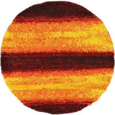 Suzanne Yellow/Red/Orange Area Rug Rug Size: Round 6