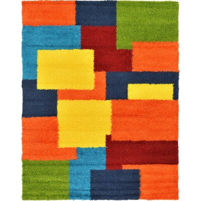Suzanne Orange/Blue/Yellow Area Rug Rug Size: 9 x 12