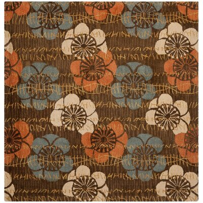 Frieda Hand-Hooked Brown Area Rug Rug Size: Square 6