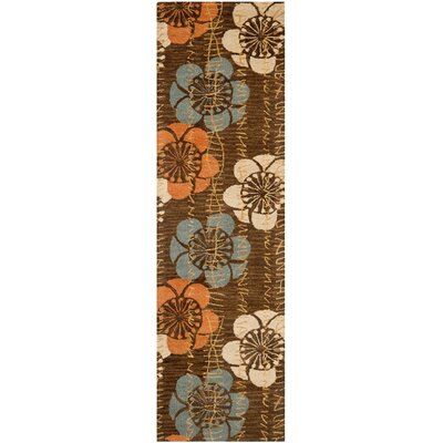 Frieda Hand-Hooked Brown Area Rug Rug Size: 26 x 4
