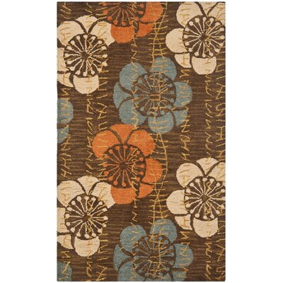 Charlotte Hand-Hooked Brown Area Rug Rug Size: 5 x 8