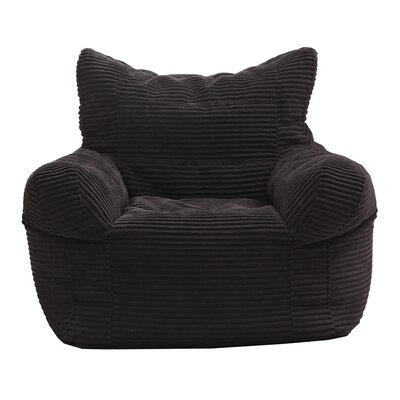 Solid Color Polystyrene Bean Bag Chair Upholstery: Black