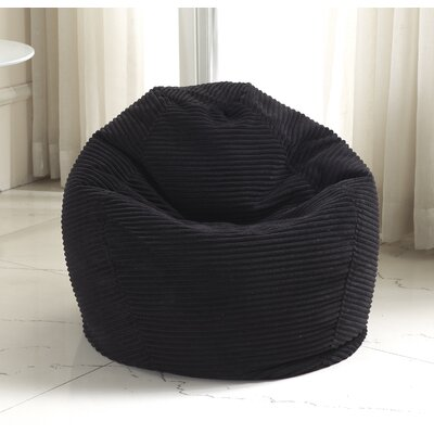 Medium Polystyrene Bean Bag Chair Upholstery: Black