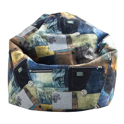 Print Denim Bean Bag Chair