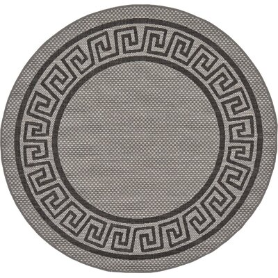 Lara Gray Outdoor Area Rug Rug Size: Round 6