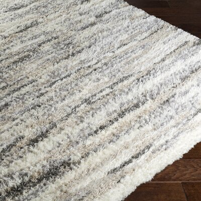 Ericka Gray/Cream Area Rug Rug Size: 5 x 76