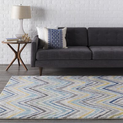 Evangelina Blue/Gray Area Rug Rug Size: Rectangle 93 x 126