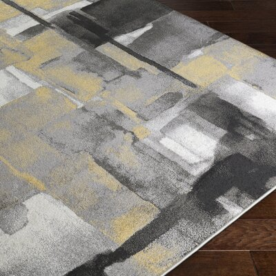 Fern Yellow/Gray Area Rug Rug Size: 2 x 3
