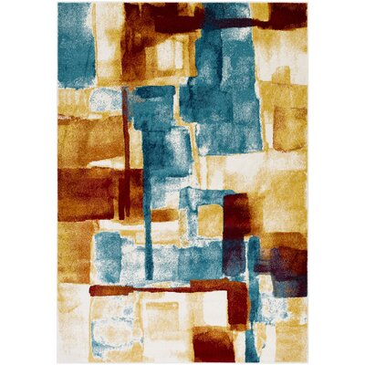 Devaney Yellow/Blue Area Rug Rug Size: Rectangle 53 x 76