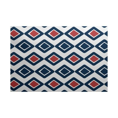 Abbie Geometric Blue/Red Indoor/Outdoor Area Rug Rug Size: 4 x 6