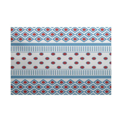 Abbie Blue/Red Indoor/Outdoor Area Rug Rug Size: 5 x 7