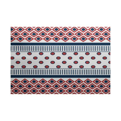 Elaine Red/Blue Indoor/Outdoor Area Rug Rug Size: 2' x 3'
