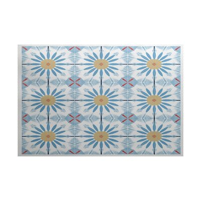 Abbie Blue/Yellow Indoor/Outdoor Area Rug Rug Size: 4 x 6