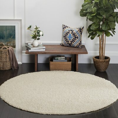 Cherlyn White Area Rug Rug Size: Round 67 x 67