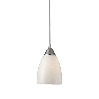 Burham 1-Light Mini Pendant Finish: Satin Nickel and White Swirl Glass