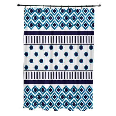 Doretta Scrambled Shower Curtain Color: Navy Blue