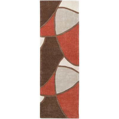 Deveau Brown/Rust Rug Rug Size: Runner 26 x 8