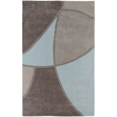 Deveau Gray & Blue Area Rug Rug Size: 36 x 56
