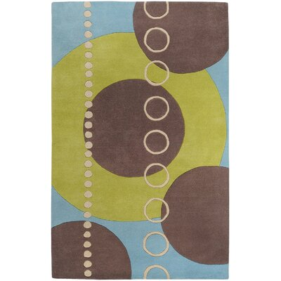 Dewald Sky/Brown Circle Area Rug Rug Size: Round 6