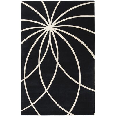 Dewald Black/Ivory Area Rug Rug Size: Rectangle 5 x 8