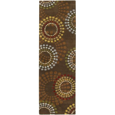 Dewald Chocolate/Gold Area Rug Rug Size: Runner 26 x 8