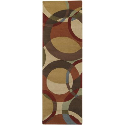 Dewald Chocolate/Red Area Rug Rug Size: Round 4