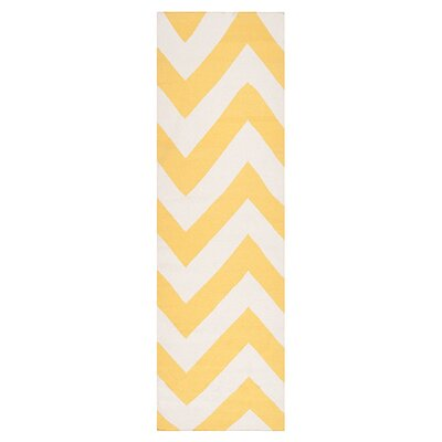 Diego Yellow/White Sunshine Chevron Area Rug Rug Size: Runner 26 x 8