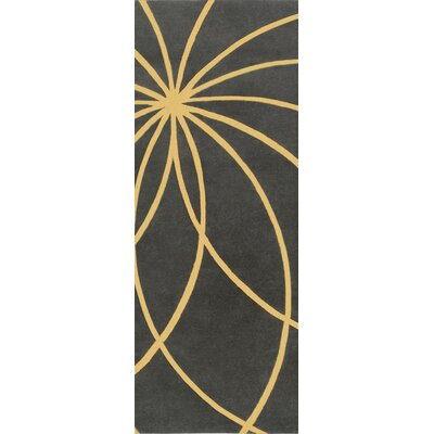 Dewald Hand Woven Wool Black/Yellow Area Rug Rug Size: Square 4