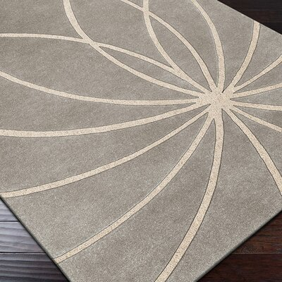 Dewald Hand Woven Wool Gray/Cream Area Rug Rug Size: Rectangle 76 x 96
